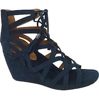 Kenneth Cole Reaction Women's Cake Pop Wedge Sandal Navy Microsuede