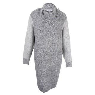 Calvin Klein Women's Plus Size Sweater-Knit Cowl Neck Dress (3X, Grey) - 3x