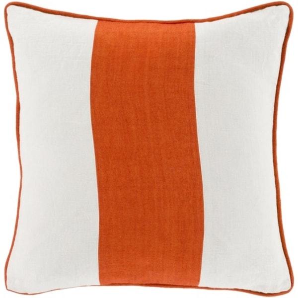 """20"""" Carrot Orange and Cream White Warm Stripes Decorative Throw Pillow"""
