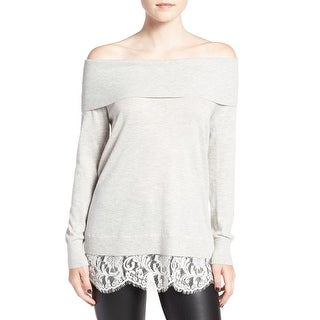 Chelsea28 Womens Small Off-Shoulder Lace Trim Sweater