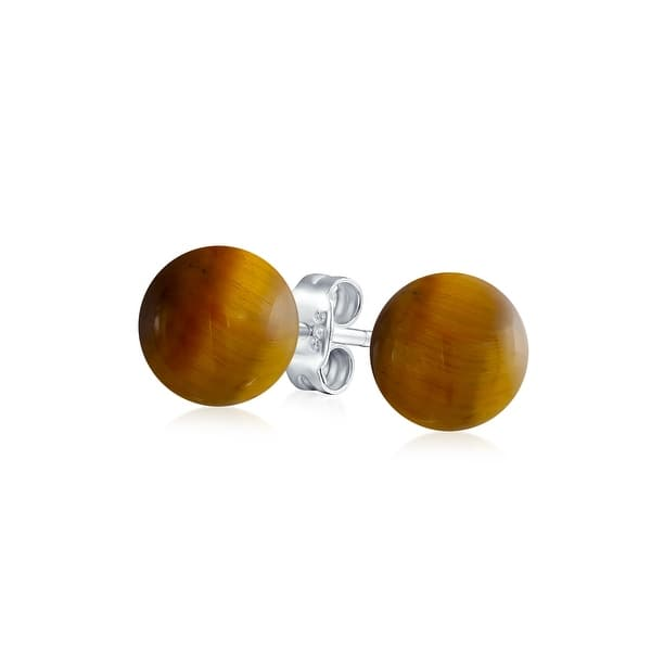 Handmade 925 Sterling Silver 8 mm Polished Round Ball Stud Earrings