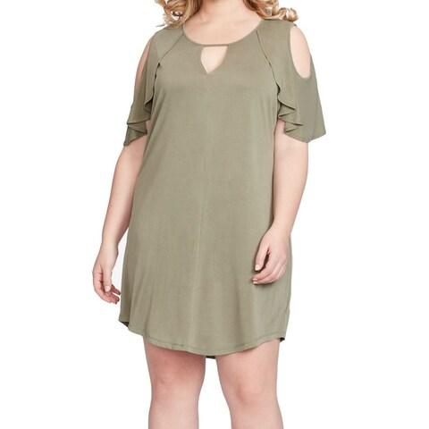Jessica Simpson Gray Womens Size 1X Plus Cold-Shoulder Shift Dress