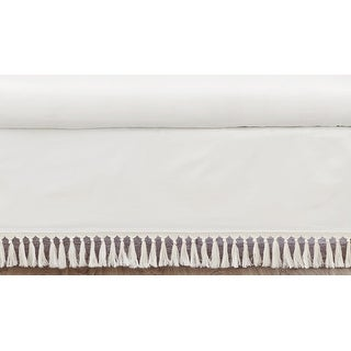 Ivory Gender Neutral Boho Bohemian Collection Girl Boy Crib Bed Skirt - Solid Color Cream Off White Farmhouse Chic Tassel Cotton
