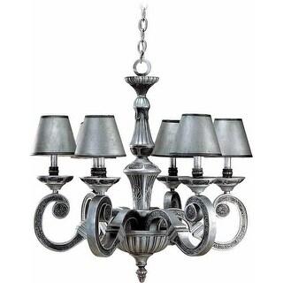 Volume Lighting V1136 Hammerfest 6 Light 1 Tier Chandelier - antique silver / hammered iron