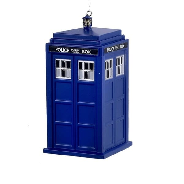 "4.5"" Dr. Who TARDIS Time Machine Science Fiction Christmas Ornament - RED"