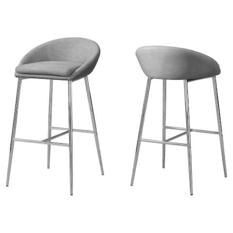 "Offex BarstooL - Grey Fabric - Chrome Base - Bar Height, 2 Pieces - 20.5"" x 20.5"" x 35.75"""