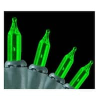 Set of 140 Green Everglow Chasing Mini Christmas Lights - Green Wire