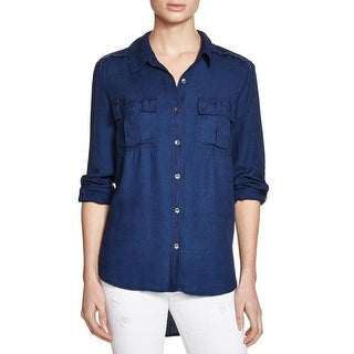 Splendid Womens Button-Down Top Fringe Adjustable Sleeves