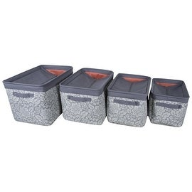 Canvas Storage Bins With Zippered Cover (Set Of 4) (Grey)