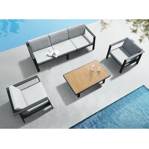 Higold 3801 Nofi 4 Pieces Outdoor Three-seater Conversation Set, Matte Charcoal, Imitated Teak Aluminum Tabletop