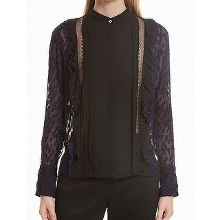 3.1 Phillip Lim Navy Blue Black Polkadot Sheer Lace 10 Blouse Silk