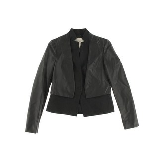 Rachel Roy Womens Faux Leather 2-in-1 One-Button Blazer - 6