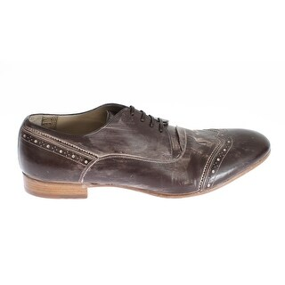 Dolce & Gabbana Brown Leather Wingtip Laceups Shoes - 39.5