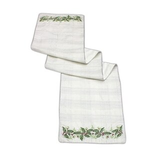 Pack of 2 Off-White and Green Decorative Embroidered Holly Table Runners 70