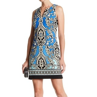 Taylor NEW Blue Womens Size 6 Sleeveless Printed Split-Neck Sheath Dress