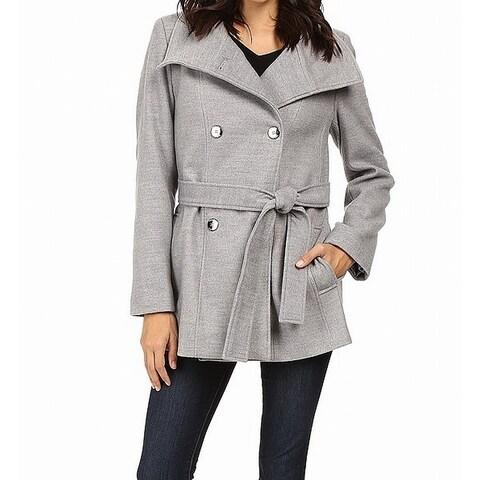 Calvin Klein Gray Smoke Womens Size Medium M Peacoat Belted Coat