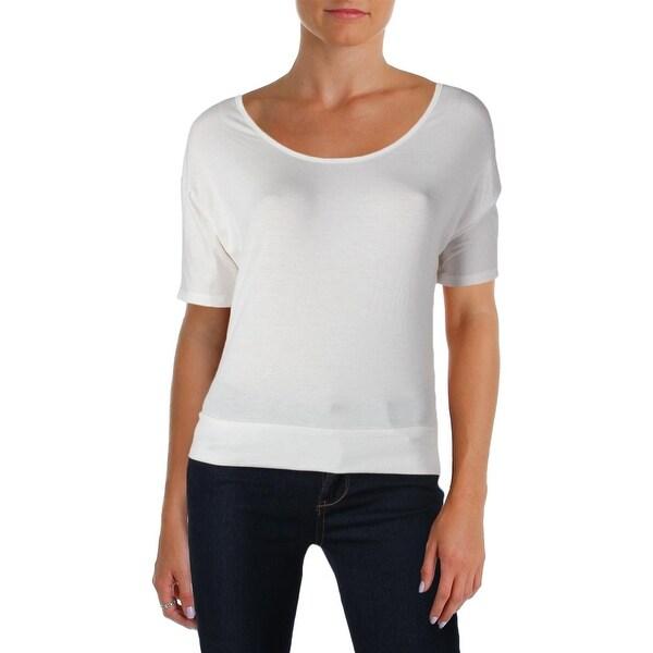 Rebellious One Womens Juniors T-Shirt Open Back Dolman Sleeves