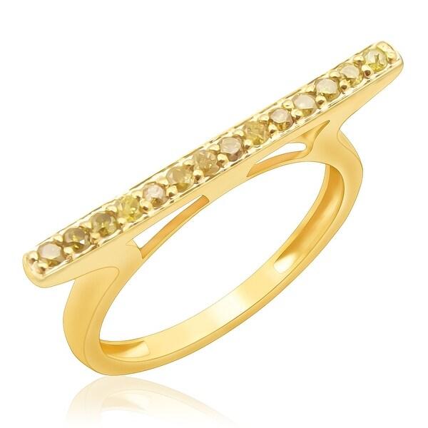 Prism Jewel 0.25Ct Round 1.55MM Yellow Color Diamond Anniversary Ring