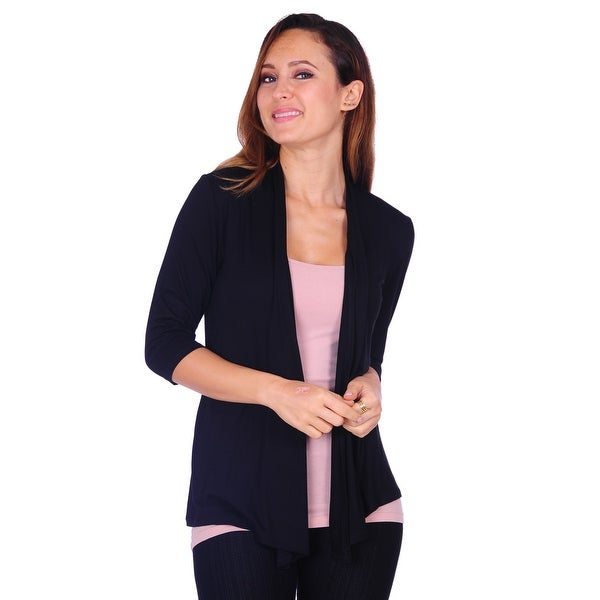 Women's Basic 3/4 Sleeve Draped Open Front Cardigan (Size: S-3X). Opens flyout.