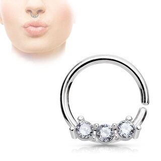 CZ on Bendable Bar Surgical Steel Septum Hoop Ring - 18GA (Sold Ind.) (4 options available)