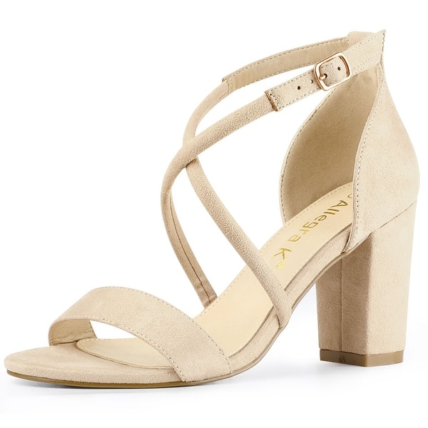Shop Women's Crisscross Ankle Strap Block Heels Sandals ...