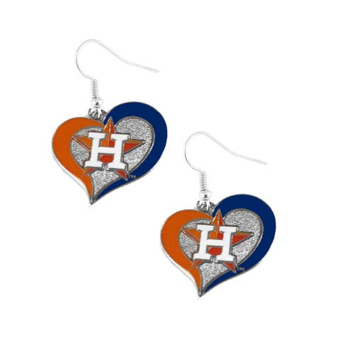 Houston Astros Swirl Heart Necklace and Dangle Earring Set MLB Charm Gift - 3/4 Inch charm and 18 inch chain