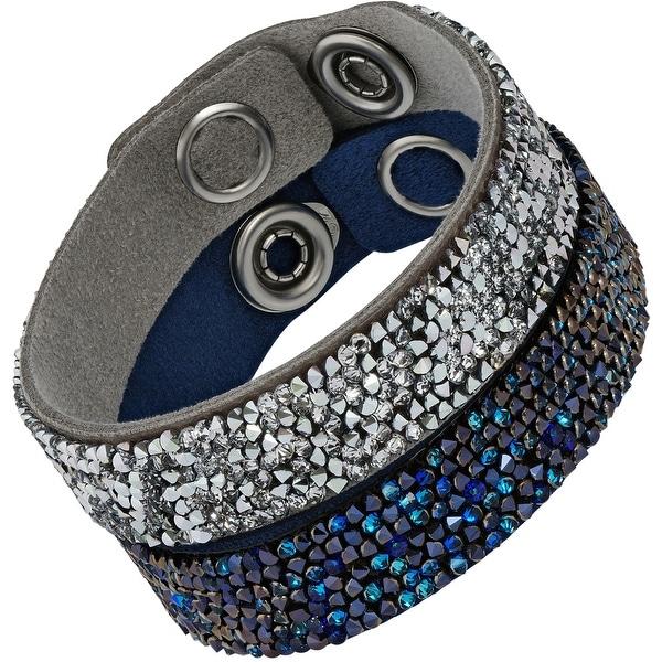 0084ca4107f Swarovski elements Crystal Rock 5089700 Gray  amp  Blue Alcantara w   Crystals Bracelet Set -
