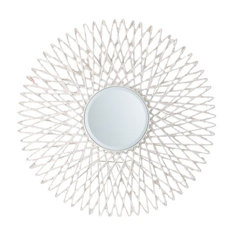 White 30-inch Intricate Starburst Wall Mirror