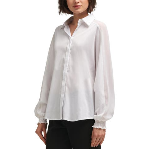 DKNY Womens Button-Down Top Mesh Inset Sheer