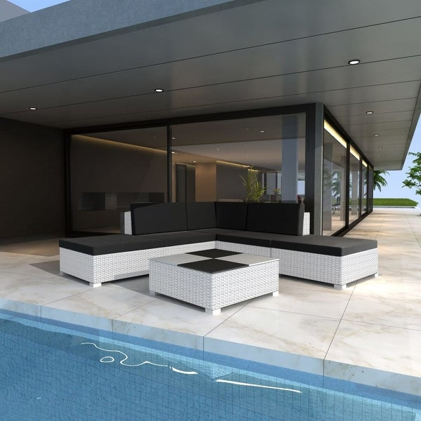 "vidaXL 6 Piece Garden Lounge Set with Cushions Poly Rattan White - 28"" x 28"" x 25"""