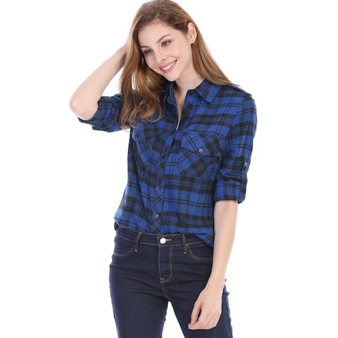 Women Check Roll Up Sleeves Flap Pockets Brushed Shirt