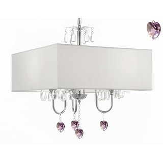 Modern Contemporary Crystal Chandelier With Large Square White Shade And Pink Crystal Hearts!