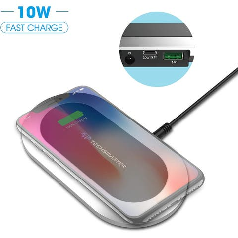 Techsmarter Qi Wireless Fast Charger Station with 30W Power Delivery USB C Port and 18W Fast Charge USB Ports.