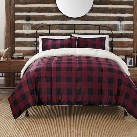 Serta Cozy Plush Buffalo Plaid 3 Piece Comforter Set