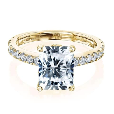 Annello by Kobelli 14k Gold 3 1/6ct TGW Radiant Forever One Moissanite and Diamond Tulip Head Engagement Ring