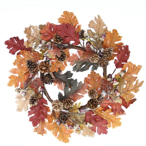 """22"""" Autumn Harvest Burlap Leaf, Acorn and Pine Cone Thanksgiving Wreath - Unlit - Orange"""