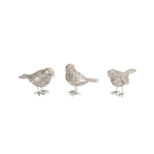 "Pack of 12 Assorted Platinum Silver Metal Resin Mini Birds 2"""