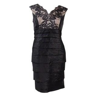 London Times Women's Sleeveless Tiered Lace Trim Dress