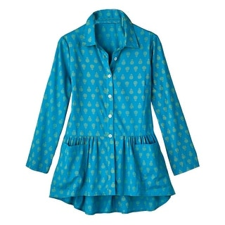Women's Tunic Top - Queen For A Day Turquoise Button Down Blouse
