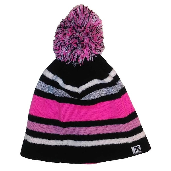 7f200c39502 Shop ZeroXposur Girls Winter Accessories Striped Pom Beanie Hat Pink Black  S M - Small Medium - Free Shipping On Orders Over  45 - Overstock - 18337671
