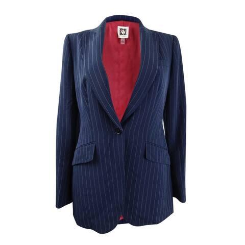 Anne Klein Women's Pinstripe One-Button Blazer - Marine Blue/Anne Black