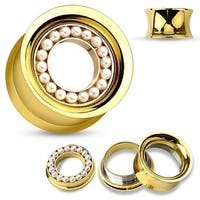 Pearl Pave Removable Disc Gold IP over Surgical Steel Double Flared Screw Fit Tunnel (Sold Ind.)