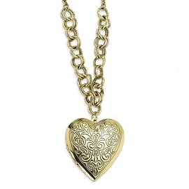 Brass Heart Locket on Necklace - 28in