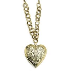 Brass Heart Locket on Necklace - 28in