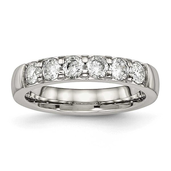 Stainless Steel Polished CZ 4 mm Band Ring