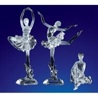 """Pack of 6 Icy Crystal Decorative Ballet Dancer Figures 12"""" - Clear"""