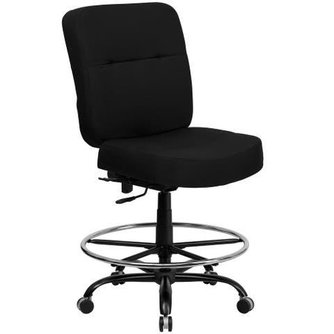 Big & Tall 400 lb. Rated High Back Black Fabric Ergonomic Drafting Chair