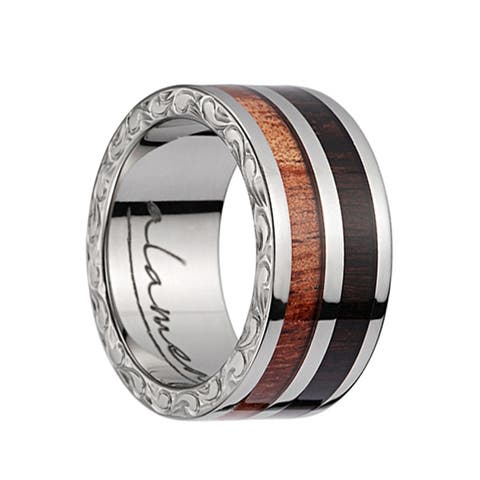 Titanium Wedding Band with Pink Ivory/Ebony Wood 2Tone Inlay, Polished Edges, & Side Pattern - 10mm