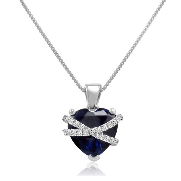 rose sterling cross watches necklace heart silver my and product jewelry white created amanda pendant sapphire blue