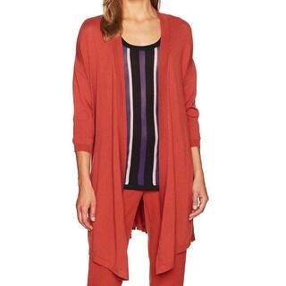 Anne Klein Orange Womens Size Medium M Side-Slit Cardigan Sweater